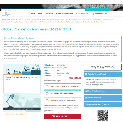 Global Cosmetics Partnering 2012 to 2018'