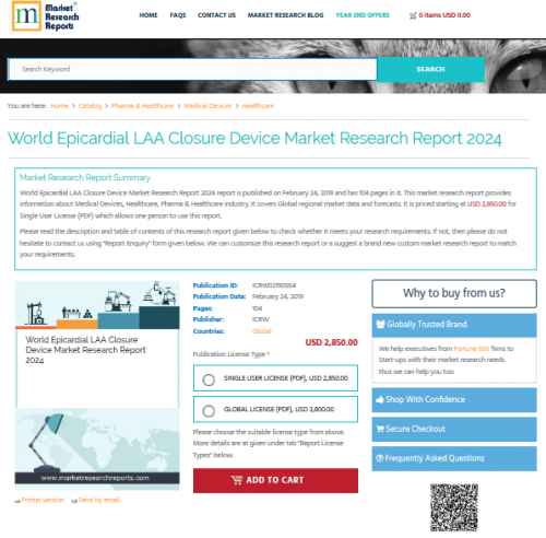 World Epicardial LAA Closure Device Market Research Report'