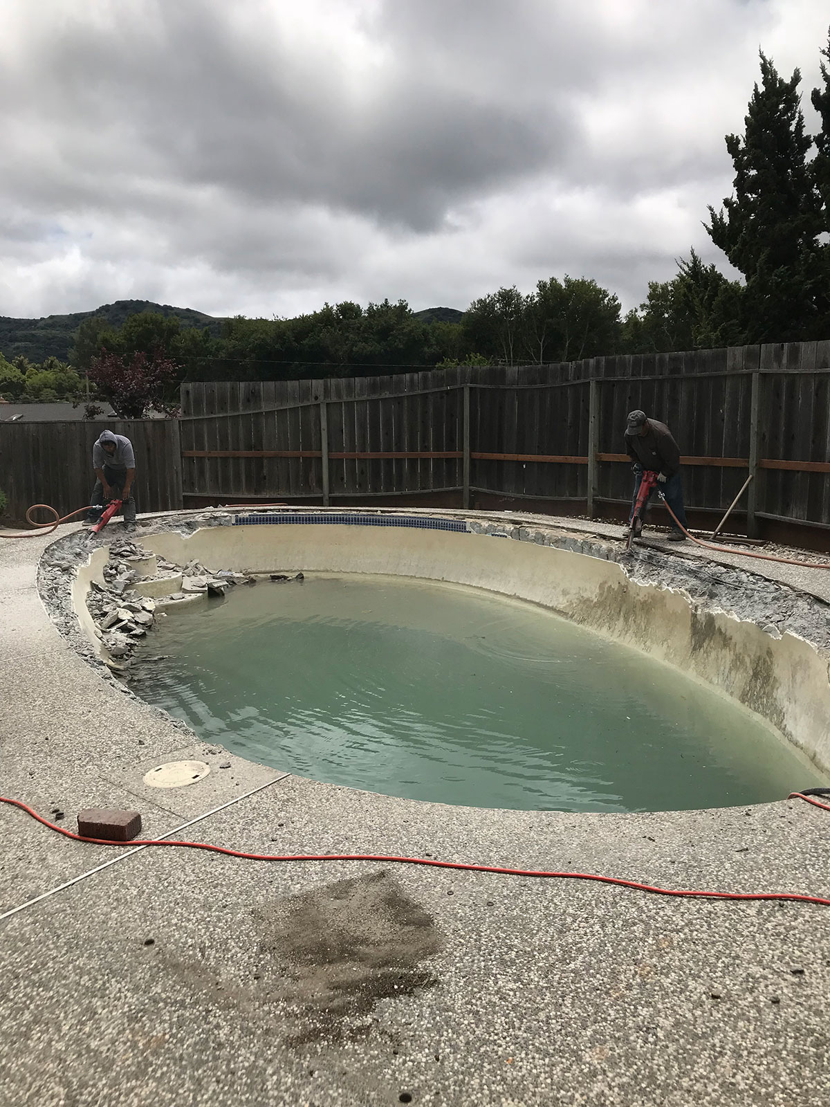 A pool demolition job in progress