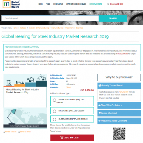 Global Bearing for Steel Industry Market Research 2019'