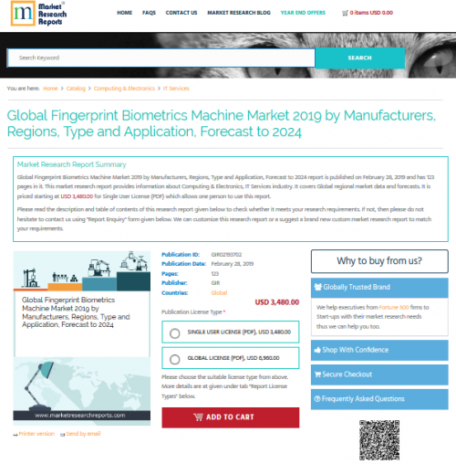 Global Fingerprint Biometrics Machine Market 2019'