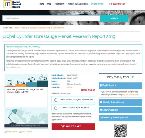 Global Cylinder Bore Gauge Market Research Report 2019'