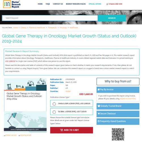 Global Gene Therapy in Oncology Market Growth 2019-2024'