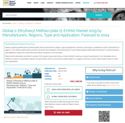 Global 2-Ethylhexyl Methacrylate (2-EHMA) Market 2019'
