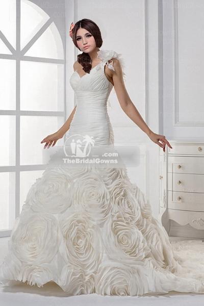 chiffon a-line wedding gown'
