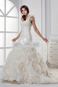 chiffon a-line wedding gown