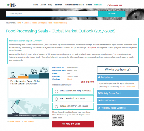 Food Processing Seals - Global Market Outlook (2017-2026)'