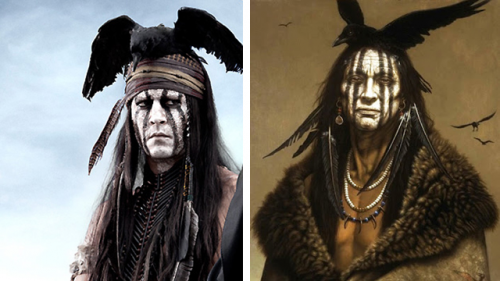 Johnny Depp as Tonto, next to a Rendering'