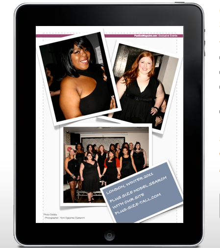 Plus size fashion editorial magazine page'