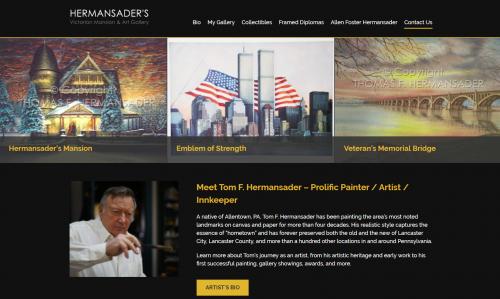 New Website Homepage for Hermansader's Art Gallery'
