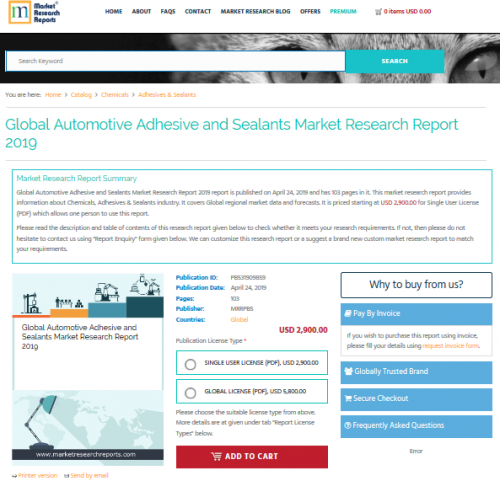 Global Automotive Adhesive and Sealants Market Research'