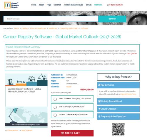 Cancer Registry Software - Global Market Outlook (2017-2026)'