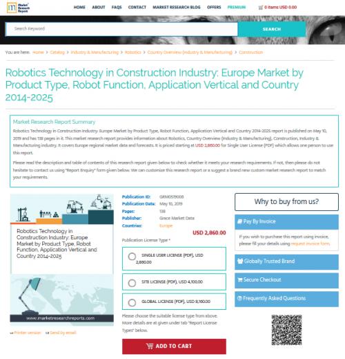 Robotics Technology in Construction Industry: Europe Market'