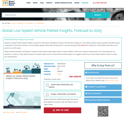 Global Low Speed Vehicle Market Insights, Forecast to 2025'