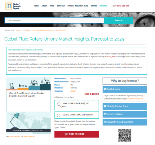 Global Fluid Rotary Unions Market Insights, Forecast to 2025'