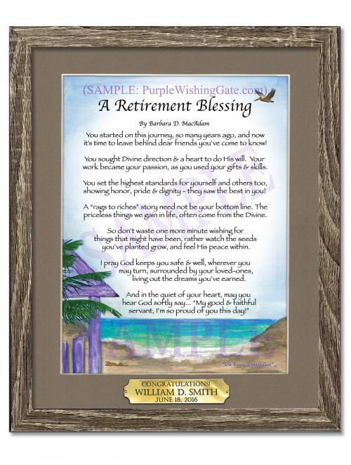 8x10 Retirement Blessing in Birchwood Frame'