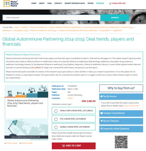 Global Autoimmune Partnering 2014-2019: Deal trends, players'