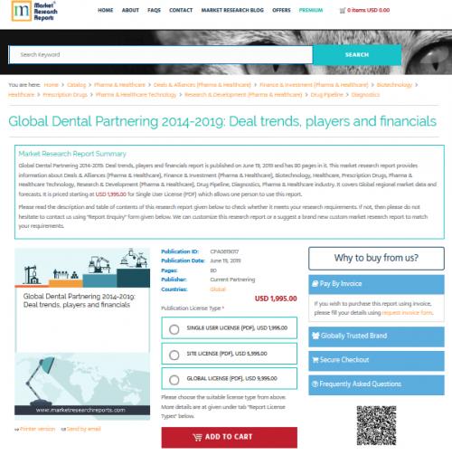 Global Dental Partnering 2014-2019: Deal trends, players'