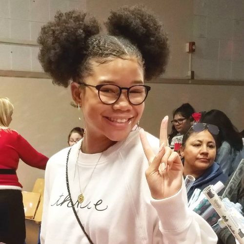 Storm Reid at CMH's December Service Learning Experienc'
