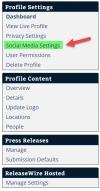 ReleaseWire Connect - Social Media Settings Menu'