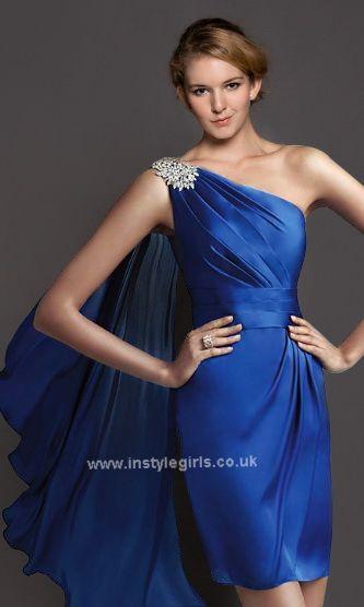 Elegant blue one shoulder prom dress'