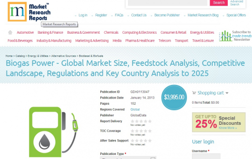 Biogas Power - Global Market Size, Feedstock Analysis, Compe'