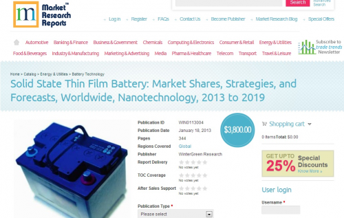 Solid State Thin Film Battery: Market Shares, Strategies, an'