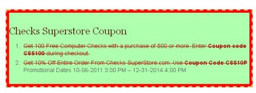 Checks Superstore Coupon'