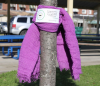 STORExpress employees dropping off scarves in the park.'