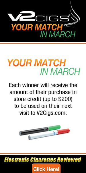 V2 Cigs Your Match in March'