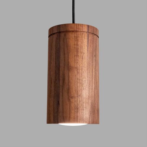 Large Wood Cylinder Pendant Light from Wilbur Davis Studios'