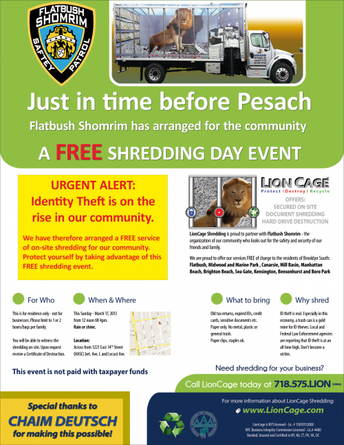 Flatbush Shomrim Announces Free Community On-Site Shredding'