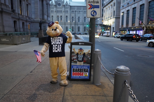 High-Five the Barbera Bear at the Philadelphia Auto Show and'