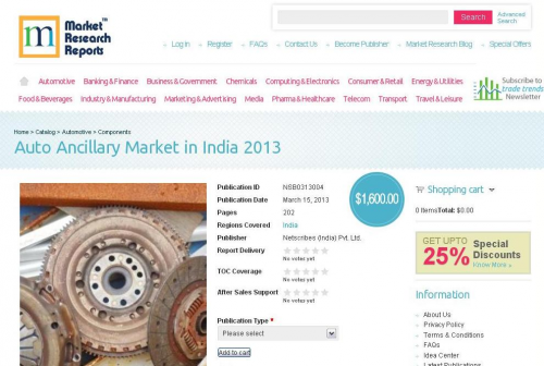 Auto Ancillary Market in India 2013'