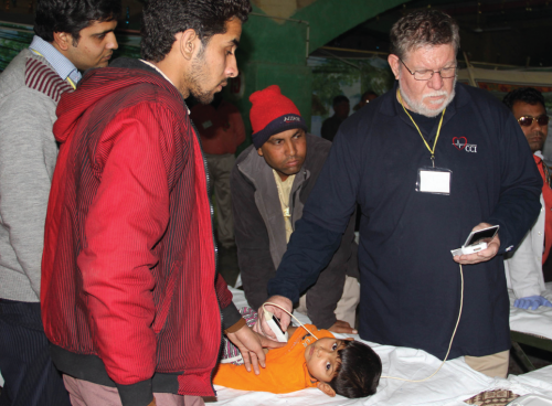 Physician using Studycast mobile medical imaging during trip'