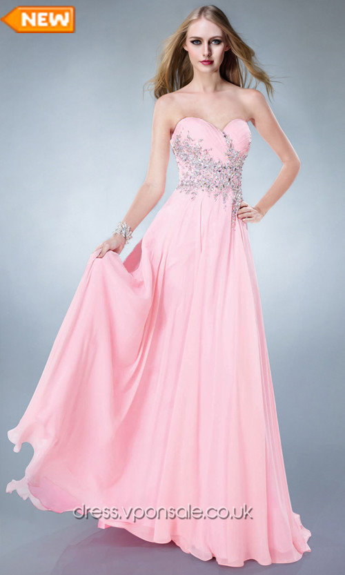 strapless long pink prom dress'