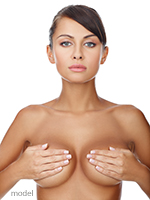 Beautiful woman with breast implants'