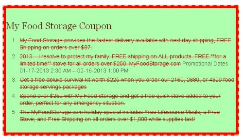 My Food Storage Coupon'