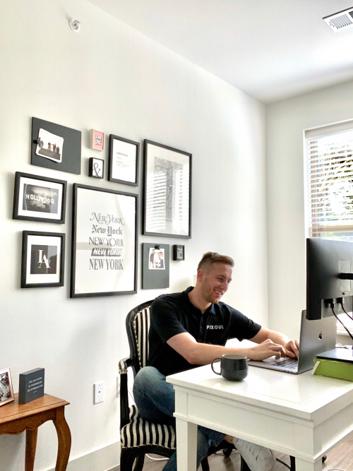 Pixoul founder working in his office.'