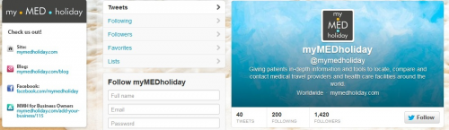 myMEDholiday.com - Twitter Page'