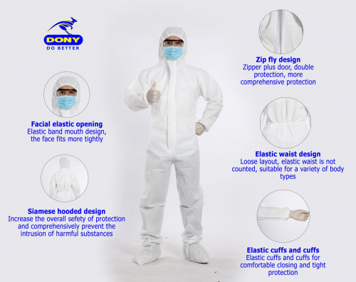 Dony Disposable protective coverall, Medical Isolation gown'
