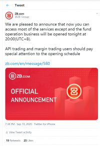 Major crypto exchange ZB.com has announced a full resumption