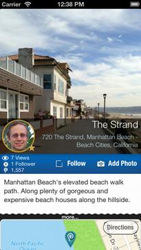 Place Page – showing description, address, statistics,'