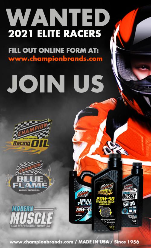 Champion Racing Oil Announces 2021 ELITE RACER Program'