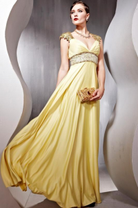 V-neck Short Sleeves Beaded Floor-length Yellow Prom Dress