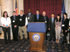 Student presenters pose at the podium at the 2011 Convention'