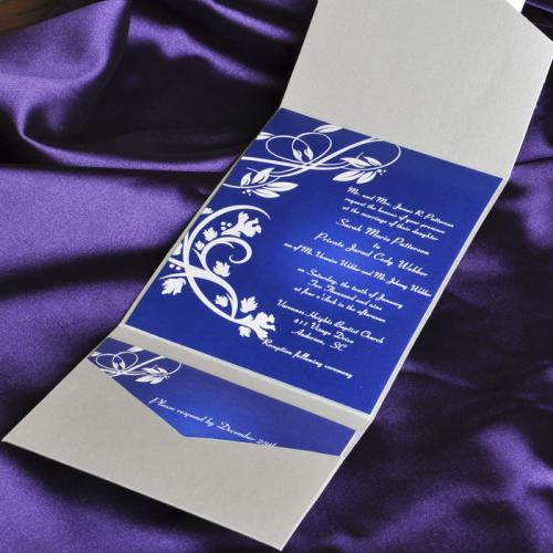 blue elegant floral swirl damask with grey pocket affordable'