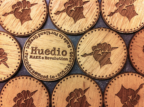 Wooden Coin Business Cards'
