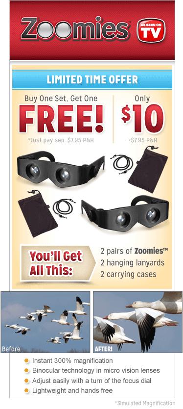 Zoomies hands-free binoculars canada'