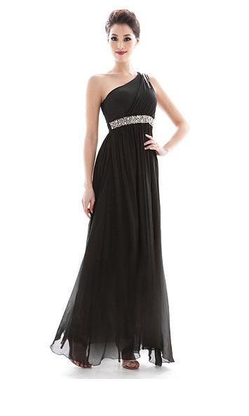 One Shoulder Black Summer Dress'